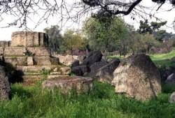 Zeusz templomának maradványai Olümpiában.