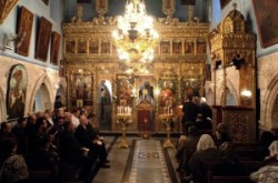Szent Jakab kápolnája_húsvéti mise a Szentsír templom Szent Jakab kápolnájában. Görög orthodox st. Jakab kápolna. Jézus_